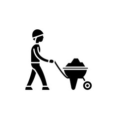 Construction works black icon sign on vector