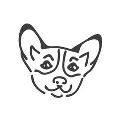 corgi dog head tattoo design corgi head vector image