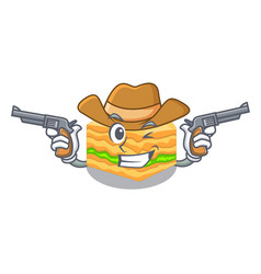Cowboy cartoon baklava is served on plate vector