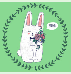 Cute bunny inside round floral frame vector