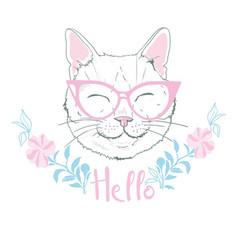 Cute cat sketch print design cat children print vector