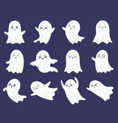 cute halloween ghosts frightened funny ghost vector image