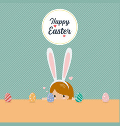 cute little girl wearing bunny ears playing egg vector image
