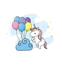 Cute unicorn with balloons and clouds design vector