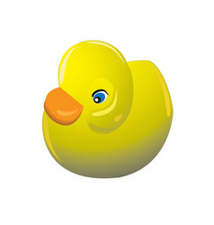 Cute yellow rubber toy duck on white background vector