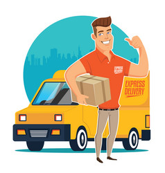 delivery man and track vector image