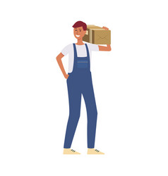 delivery man or courier with a cardboard box vector image
