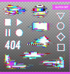 Digital elements in distorted glitch style vector