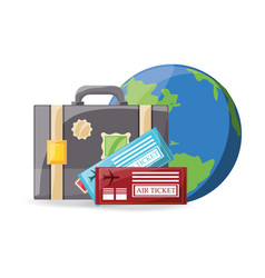 Earth planet with briefcase and tickets vector