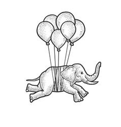 Elephant flies on balloons sketch vector