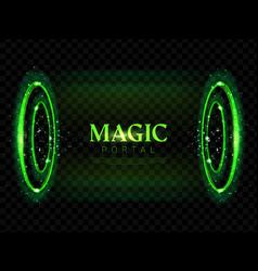 Fantasy magic portal futuristic hologram teleport vector