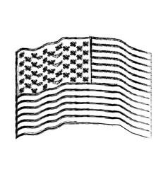 flag united states of america waving monochrome vector image
