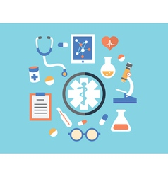Flat abstract concept of medicine with emblem vector image