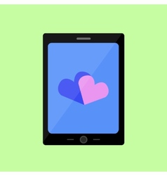Flat style touch pad with hearts vector