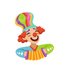 Funny circus clown playing harmonic avatar of vector