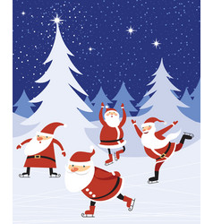funny santas skating in the winter forest vector image