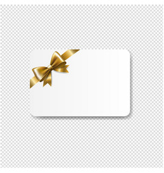 gift card golden bow isolated transparent vector image