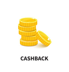 golden coins pile cashback metal money realistic vector image
