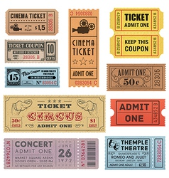 Grunge ticket set 1 vector