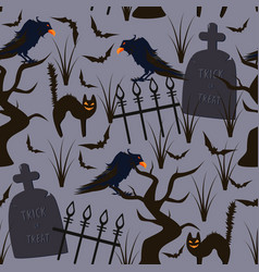 halloween seamless pattern with ravens and cats vector image
