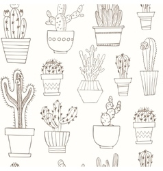 Hand drawn Seamless pattern with Cactus in the vector