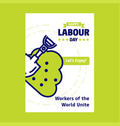 happy labour day design with green and blue theme vector image