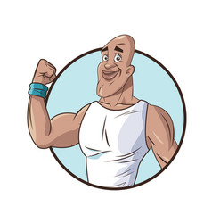 healthy man athletic strong ftiness icon vector image