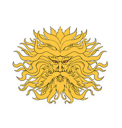 helios greek god of sun head drawing color vector image