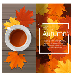 Hello autumn background with cup of tea vector