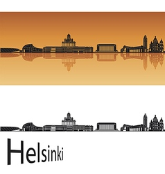 Helsinki skyline in orange background vector image