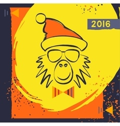 Hipster christmas red fire monkey vector