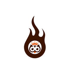 king owl fire logo icon vector image