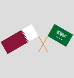 Kingdom of saudi arabia and qatari flags vector