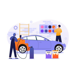Male character is working in car painting service vector