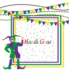 Mardi gras party frame with harlequin vector