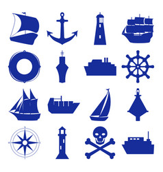 marine collection of ship silhouette icons in flat vector image