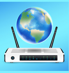 modem router with earth globe connect internet vector image