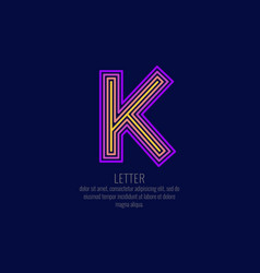 modern linear logo and sign the letter k vector image