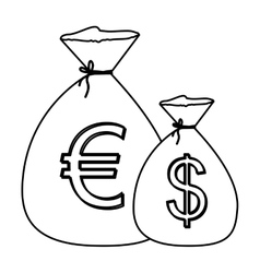 Monochrome contour with money bags with currency vector