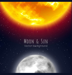 moon and sun night sky background cartoon style vector image