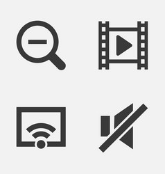 Multimedia icons set collection of magnifying vector