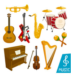 Musical instruments isolated icons vector