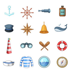 Nautical icons set cartoon style vector