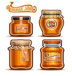 Orange jam in glass jars vector