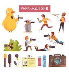 Paparazzi photographer cartoon icons set vector