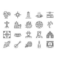 portugal icon set vector image