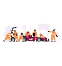 Racing crew cartoon pit stop team in uniform vector