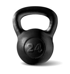 Realistic rough black kettlebell 24 kg vector