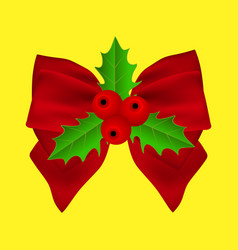 red christmas bow with holly on ribbon vector image