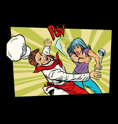 Restaurant food unhappy woman fights vector